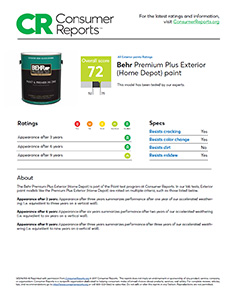 PREMIUM PLUS Exterior Paints. Click To Read Consumer Reports Review