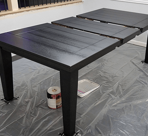 I Decided It Was Time To Take The Plunge And Refinish The Table To A Matte  Black To Match Our Home Decor Style. I Had A Dining Room ...