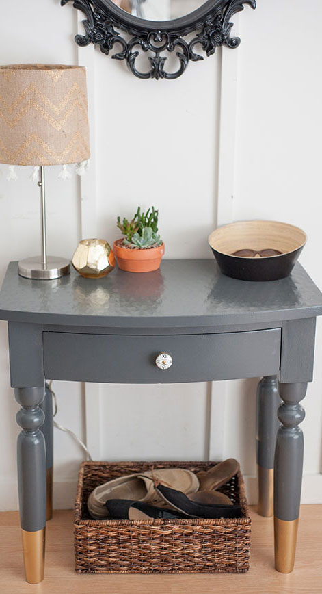 Entryway table gets scandinavian style update behr for Painted foyer tables