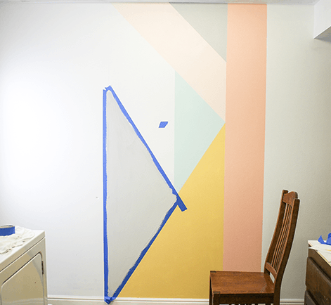 Diy geometric accent wall project behr for Geometric accent wall
