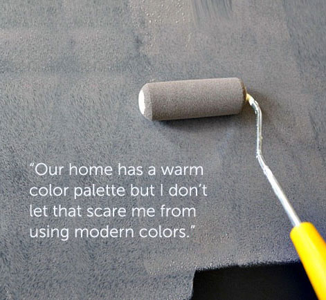 Our home has a warm color palette but I don't let that scare me from using modern colors, especially gray.