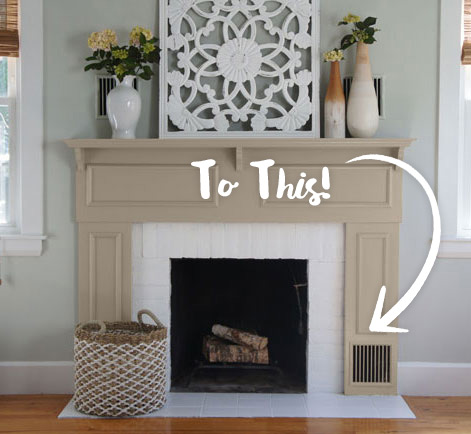 Discover a way to refurbish a drab fireplace and mantel from designer Jessica of Project House to Home