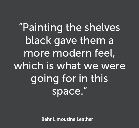 """Painting the shelves black gave them a more modern feel, which is what we were going for in this space"""