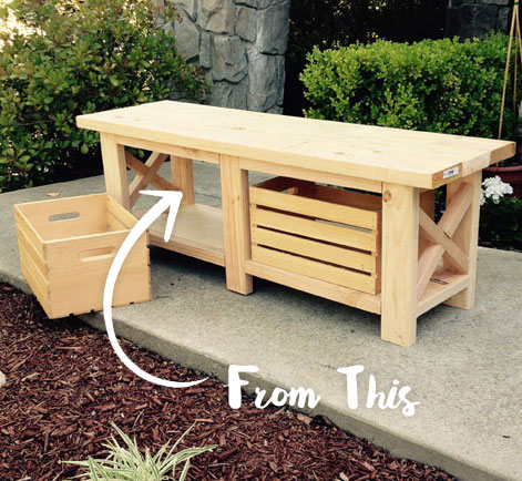 A Rustic Outdoor Bench With Built In Crate Storage