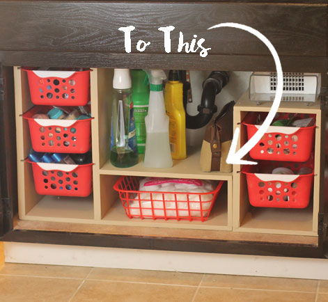 Shelving unit installed under sink