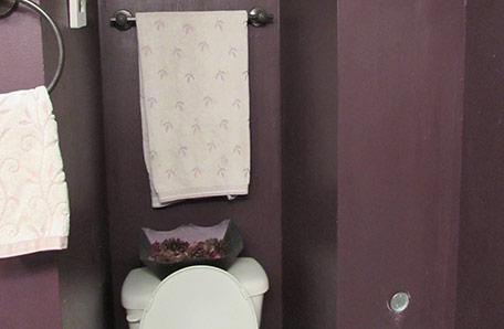 El baño antes, con paredes en color morado y retrete