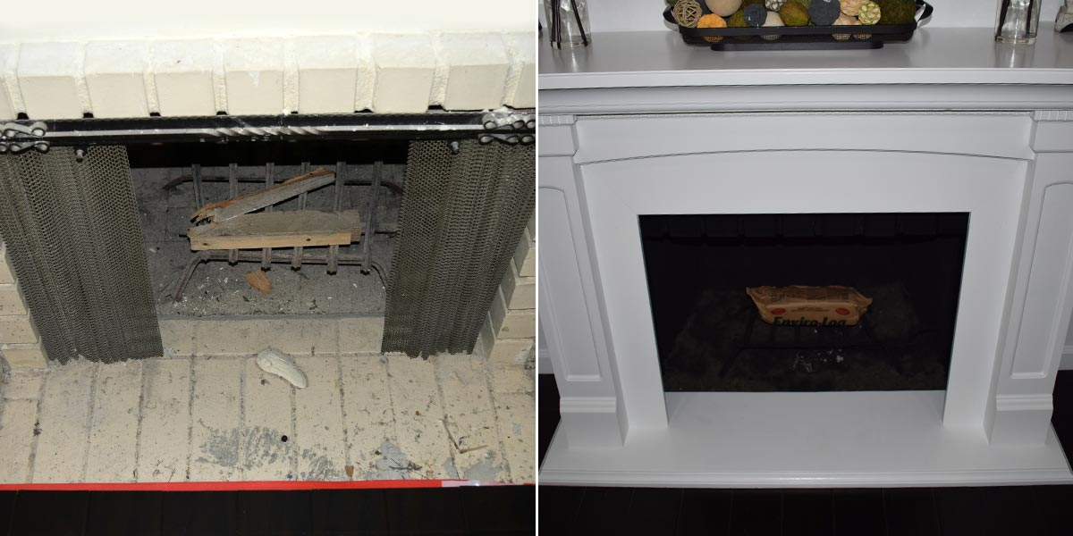 Before and After Fireplace Mantle Refresh