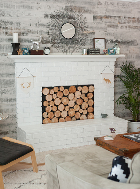 Three-quarter view of finished fireplace