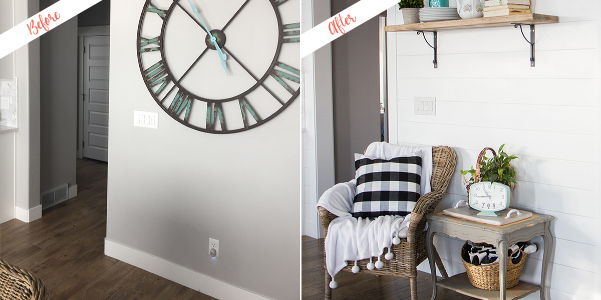 Shiplap accent wall, before and after