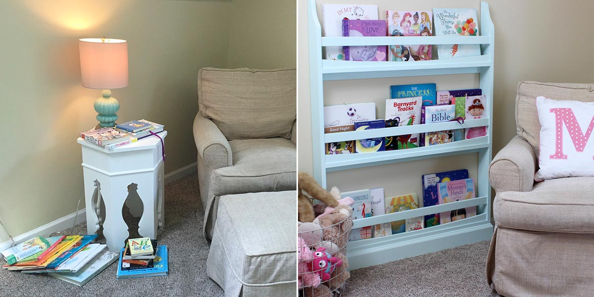 Before and After of Child's room with new bookcase
