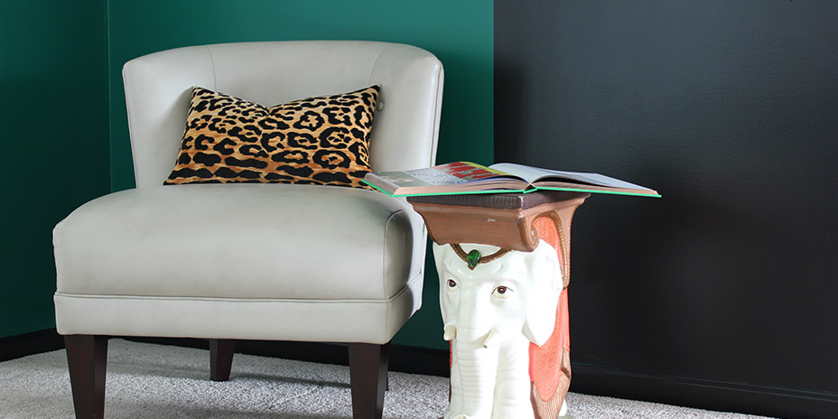Color block room with elephant accent table and chair