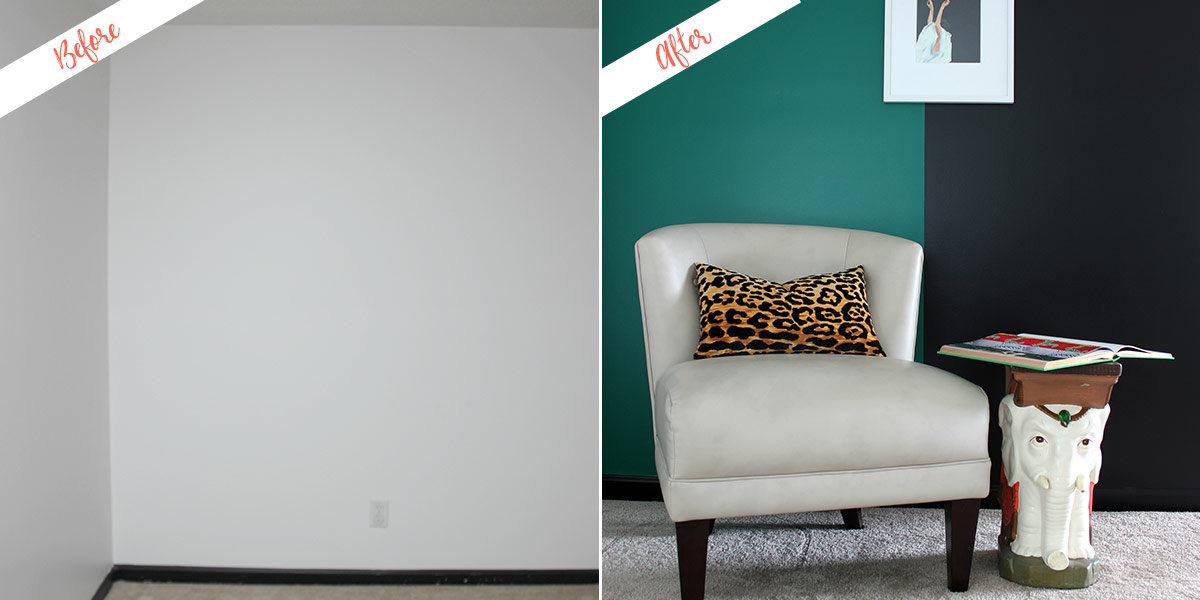 Color Block Wall, before and after