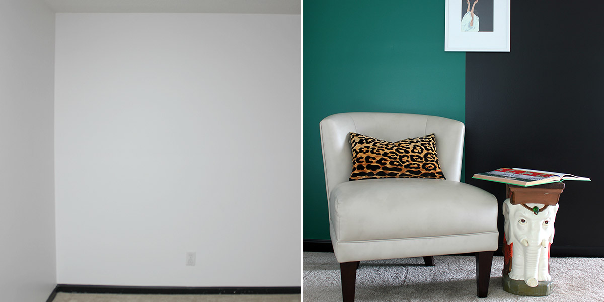 Before and After of color blocking on a wall