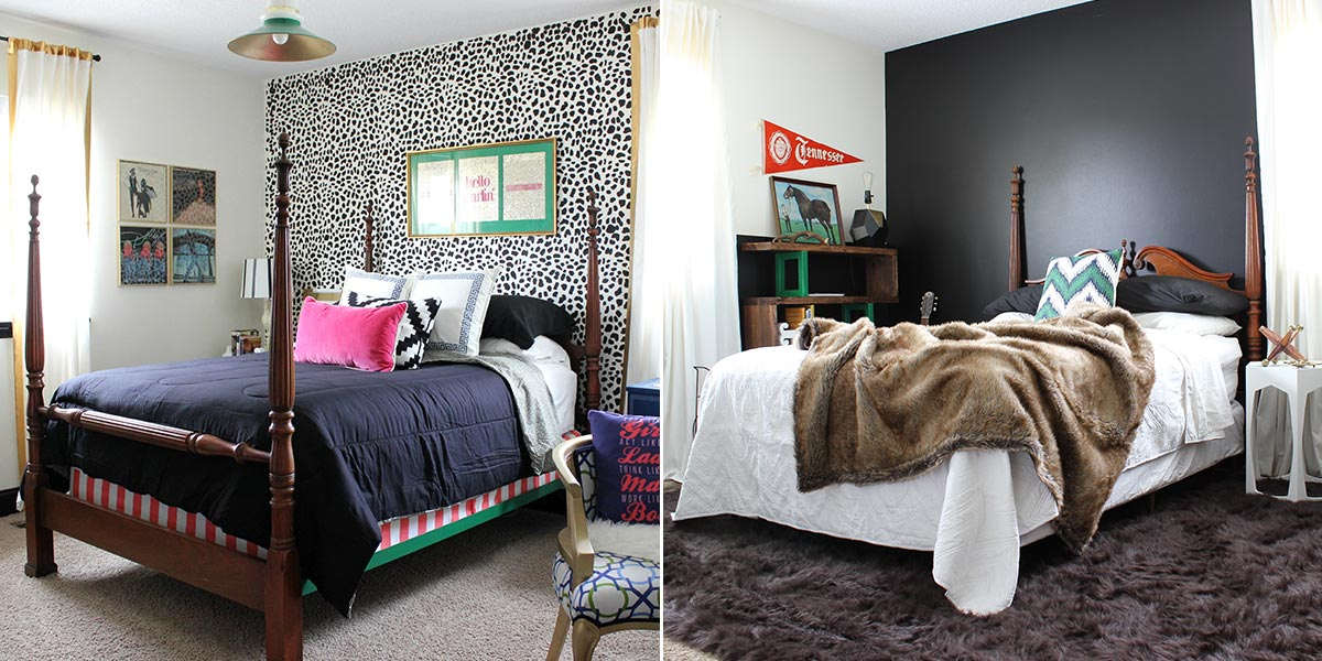 Before and After of Guest Bedroom, to solid black accent wall