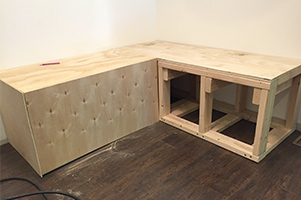 Banquette with the top and one side attached