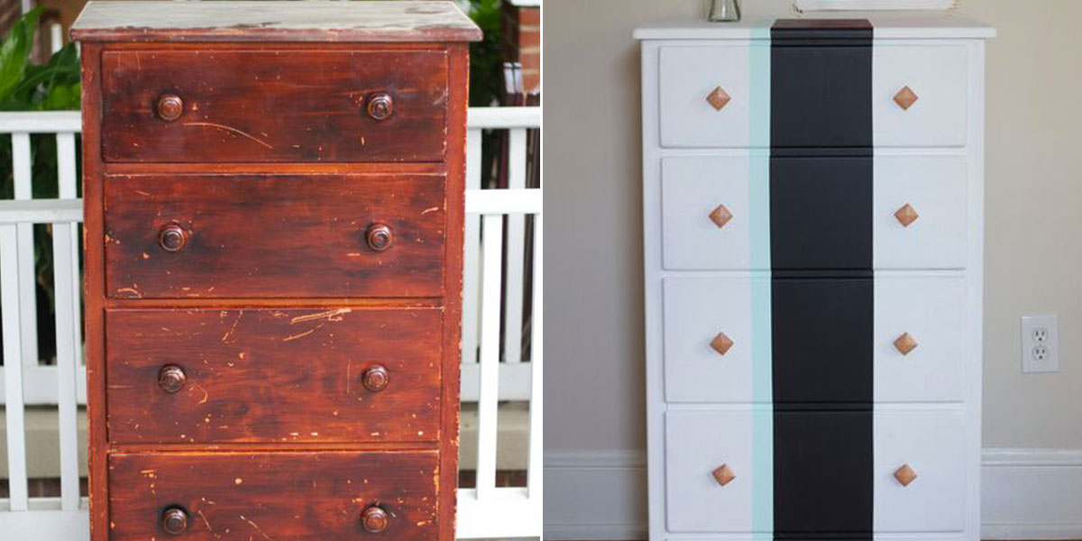 Before and After of Bedroom Chest with decorative striping