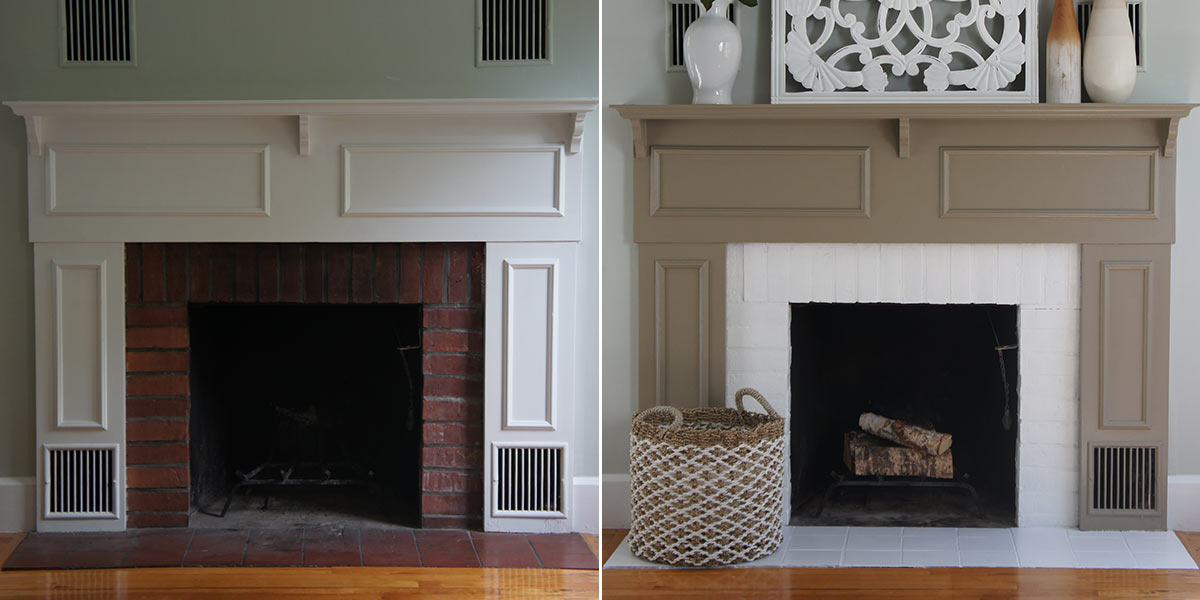 Before and After of Fireplace Mantle Refresh, painted in neutral hue