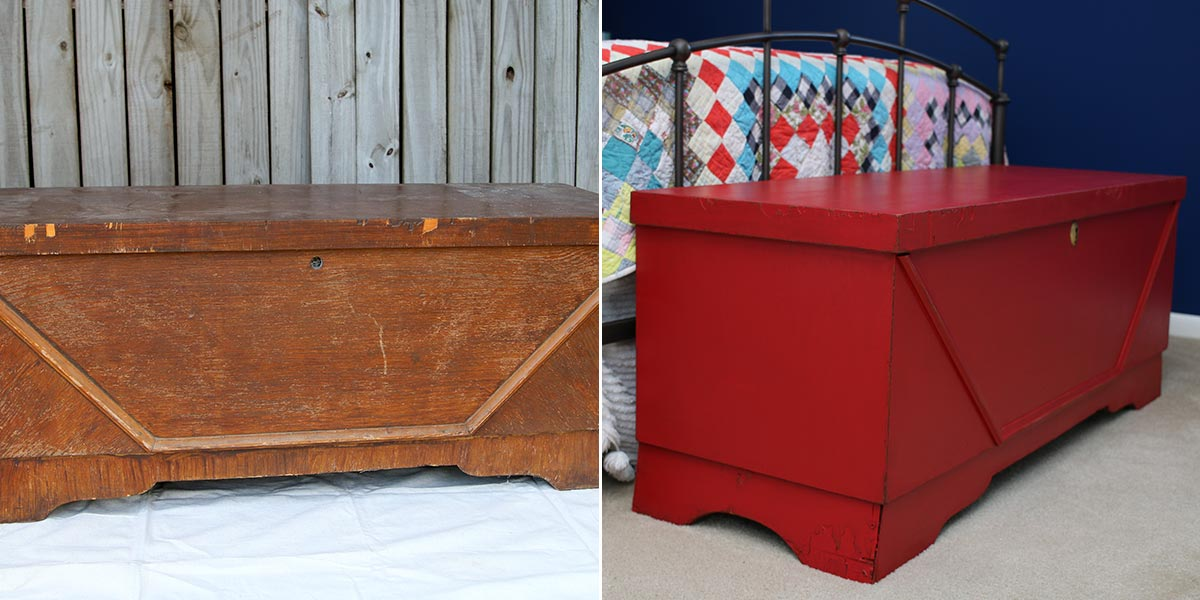 Before and After of Blanket Chest, painted in vibrant pink