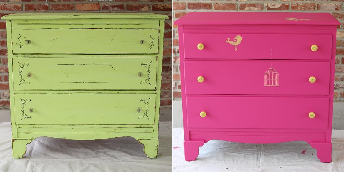 Before and After of Bedroom Dresser painted in bright pink