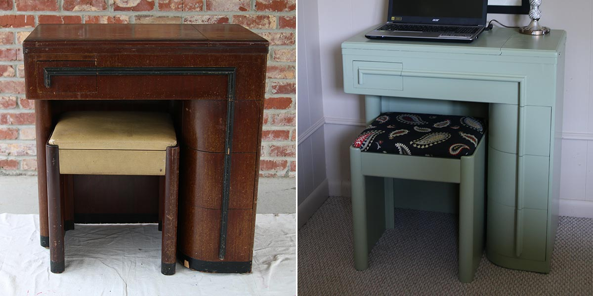 Before and After of sewing machine cabinet transformed into desk