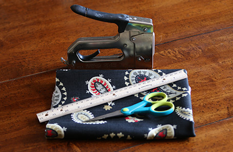 Tools and fabric for the new chair upholstery