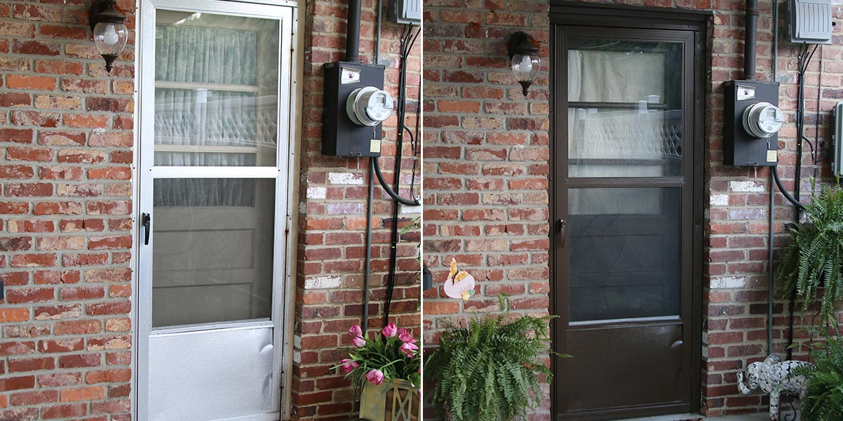 Before and After of exterior storm door painted in chocolate brown.