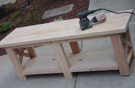 Sanding the bench