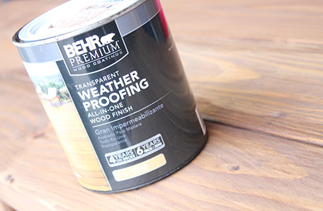 A gallon can of BEHR PREMIUM Transparent Weatherproofing