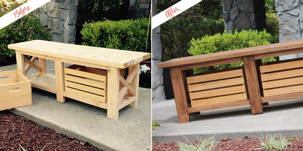 Stained Bench project, before and after