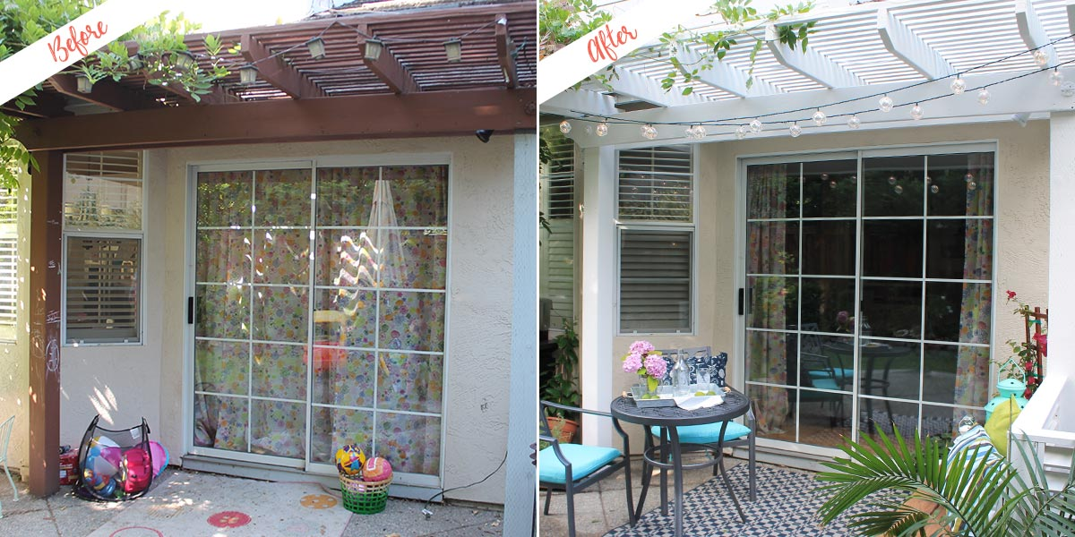 Repainted Pergola project, before and after