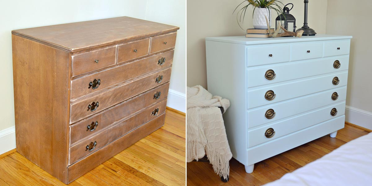 Before and After of Bedroom Dresser, painted in pale blue