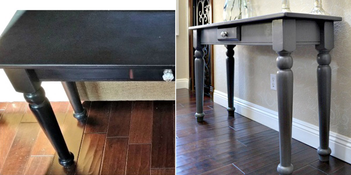 Before and After of a console table in entryway