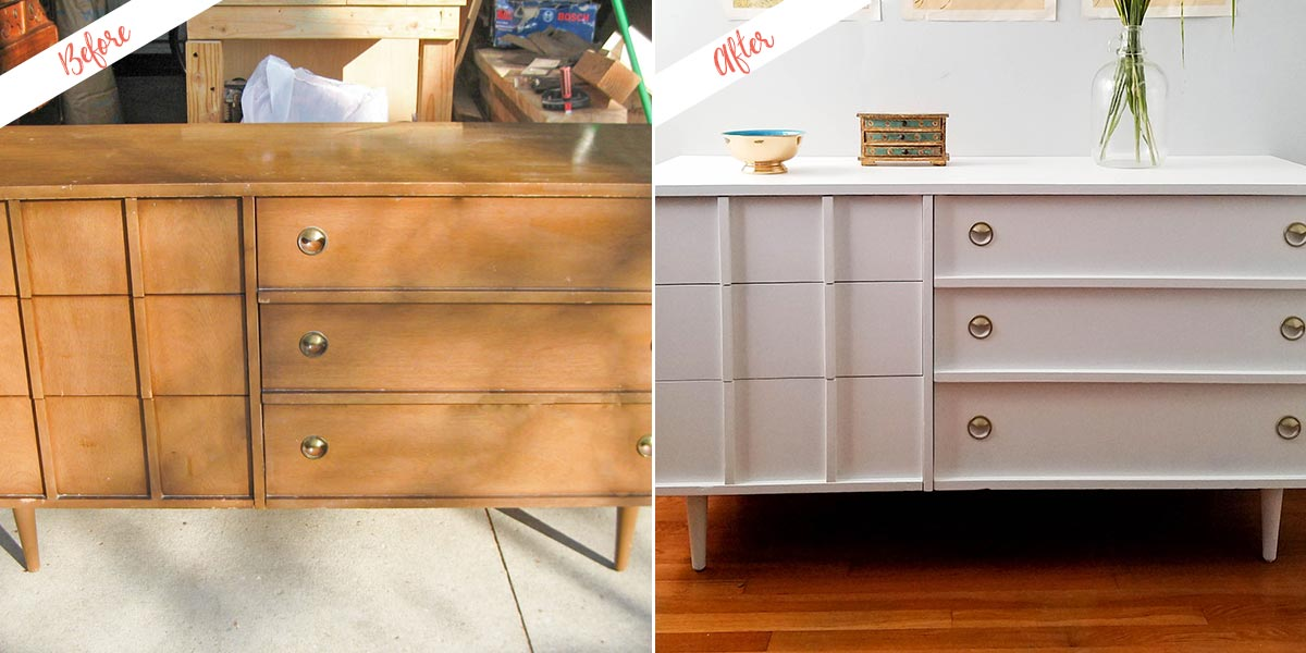 Refinished Dresser project, before and after