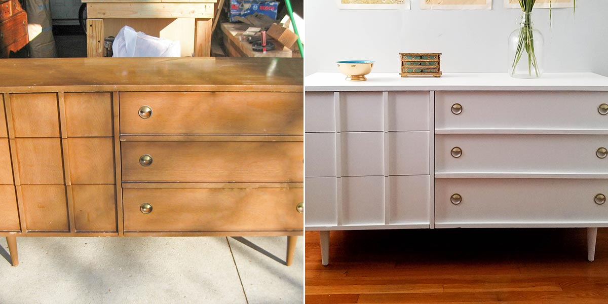 Before and After of Mid Century Modern Dresser, painted.