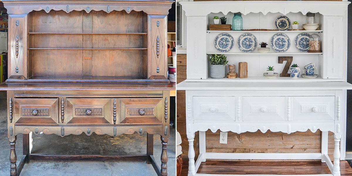 Before and After of Dining Room Buffet, painted