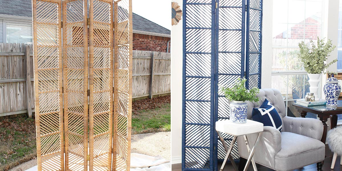 Before and After of Rattan Dividing Screen, painted