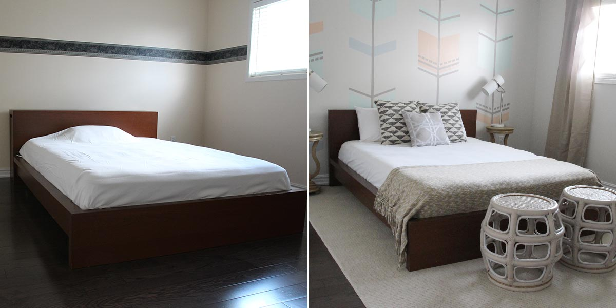 Before and After of Guest Bedroom, with elaborate pastel geometric accent wall