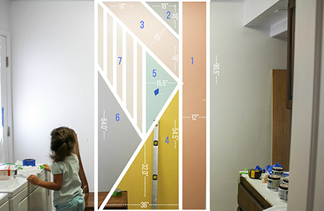 Measurements of wall with geometric shapes