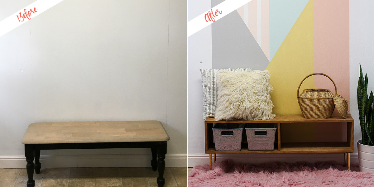 Geometric Accent Wall project, before and after