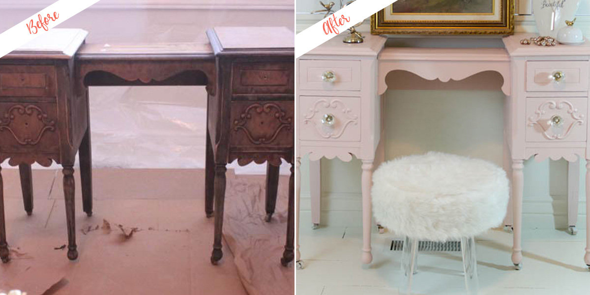 Taking a Vanity From Drab to Fab project, before and after