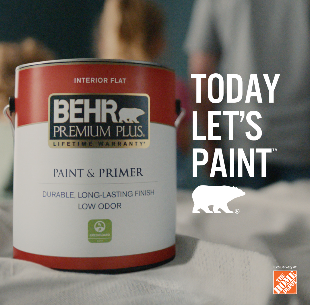 Mobile-sized image of a person getting ready to paint with a can of BEHR Premium Plus Flat interior paint and the words Today Let's Paint in the foreground.