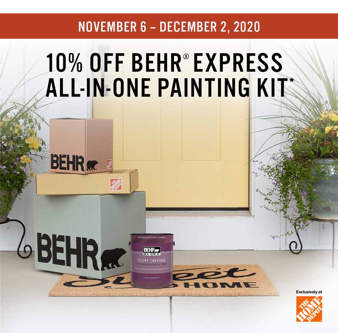 Mobile-sized image of Black Friday Savings promotion with Behr Express painting kit and house exterior in the background.