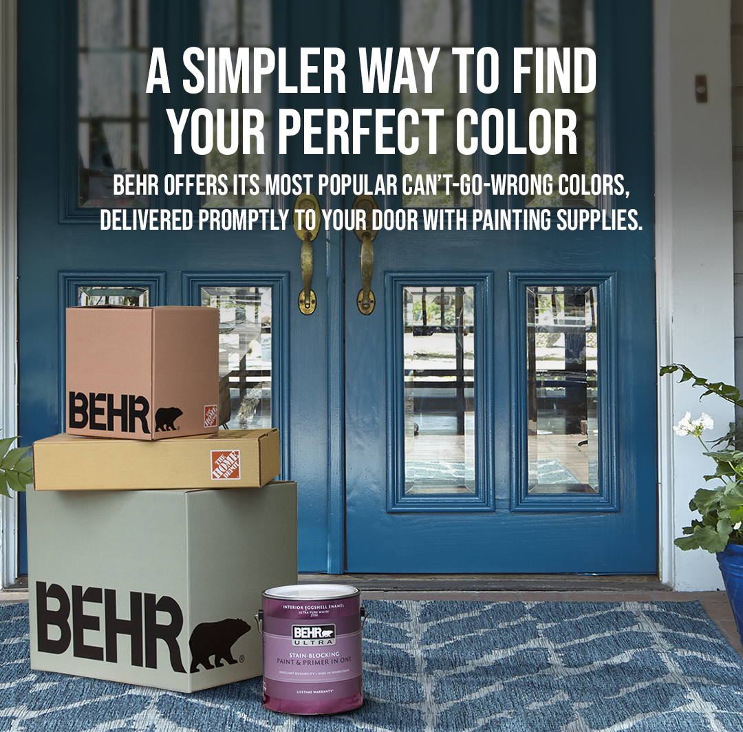 Mobile-sized image of front porch with blue welcome mat and blue French doors, with Behr Express packages and 1 gallon can of Behr Ultra paint in front.