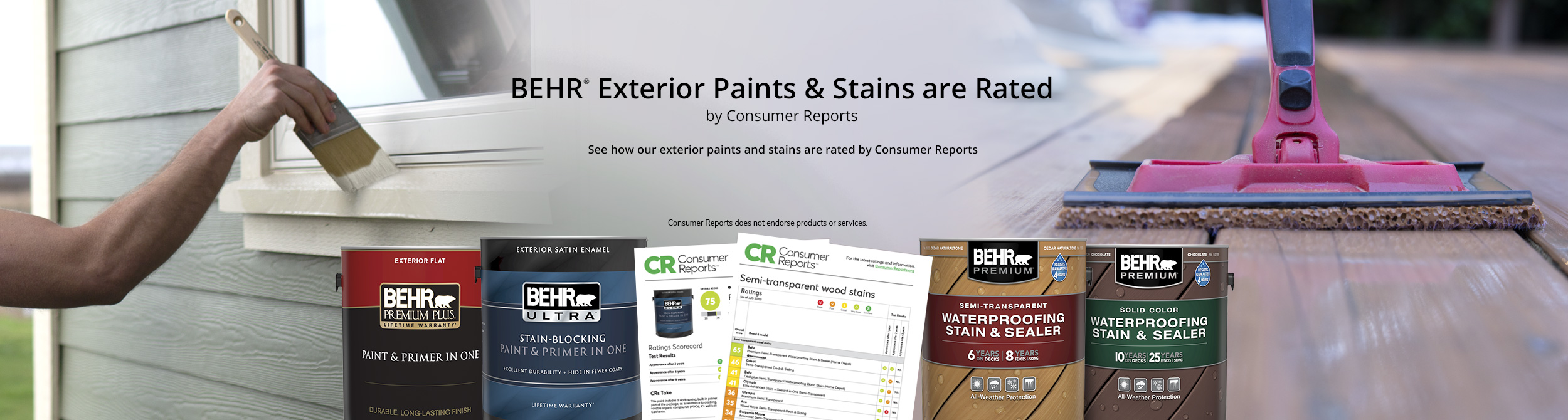 Montage image of house siding and deck, with 1 gal cans of Premium Plus Exterior Flat paint, Ultra Exterior Satin Enamel paint, Behr Premium Semi-Transparent Waterproofing Stain, and Behr Premium Solid Color Waterproofing stain in the forefront. Two images of Consumer Reports findings are also showcased on image. See how Behr Exterior Paints and Stains are rated by Consumer Reports.