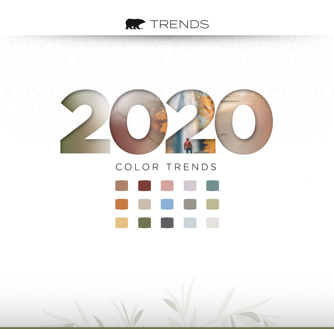 Mobile-sized banner image representing the Behr 2020 Color Trends forecast. Includes color chips of each of the 2020 trend colors, an artistic design of the phrase 2020 Color Trends, and the Behr logo.