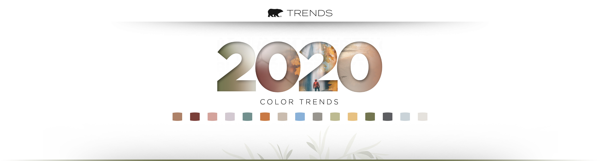 Banner image representing the Behr 2020 Color Trends forecast. Includes color chips of each of the 2020 trend colors, an artistic design of the phrase 2020 Color Trends, and the Behr logo