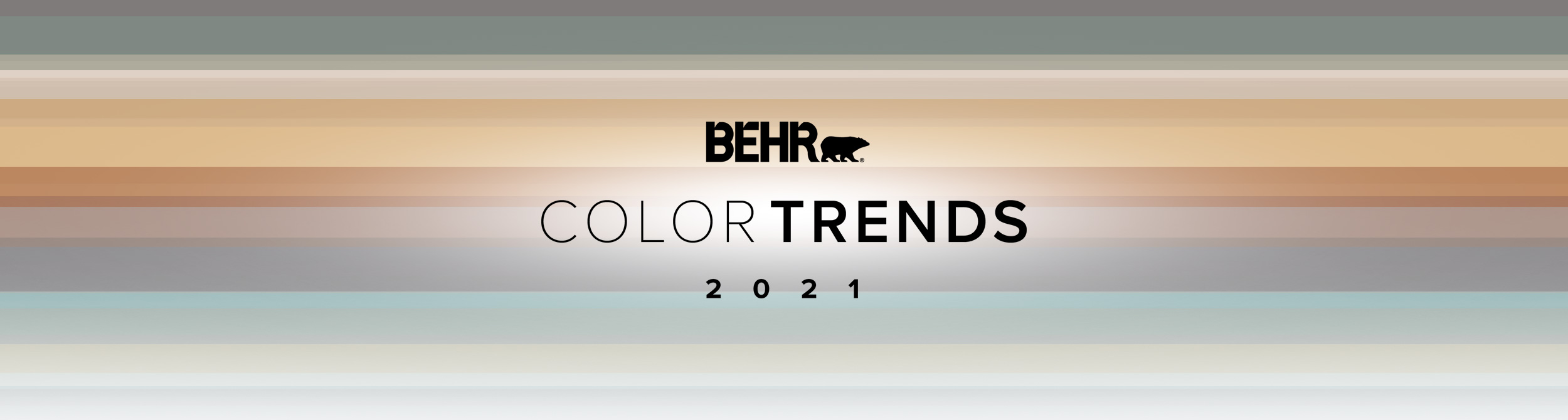 Banner image representing the Behr 2021 Color Trends forecast. Includes color bands of each of the 2021 trend colors, the Color Trends logo lockup, and the Behr logo
