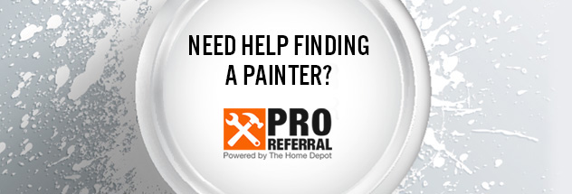 Mobile-sized image of Pro Referral logo on top of a paint can lid with paint splatters in the background.