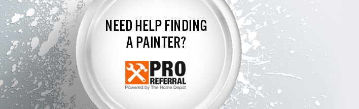 Pro Referral logo on top of a paint can lid with paint splatters in the background.