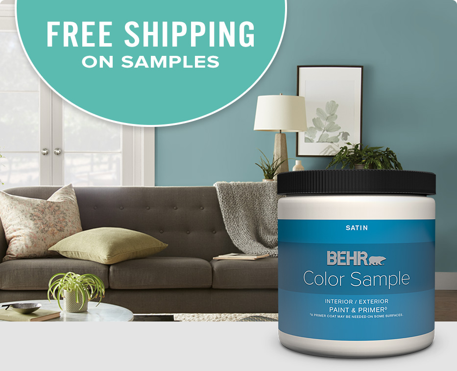 Mobile version of free shipping on Behr Paint Color Sample with the ColorSmart logo and a living room in the background